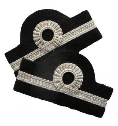 Galons d'épaules PNC Chef de Cabine 1 Barette 5 mm Argent Boucle Nelson