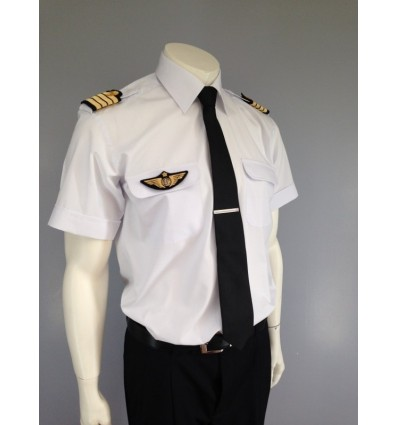 """Chemise Pilote Homme """"White Collar"""" Manches Longues ou Courtes"""