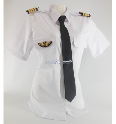 Chemise Pilote Femme « White Collar» Manches Longues ou Courtes