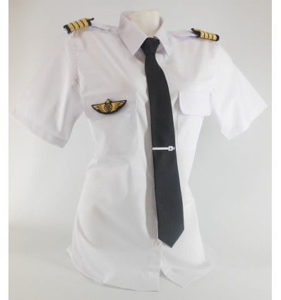 Woman Pilot Shirt « White Collar » Long or Short Sleeves