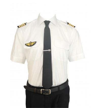 Chemise Pilote 100% Coton COUPE DROITE Manches Longues ou Courtes