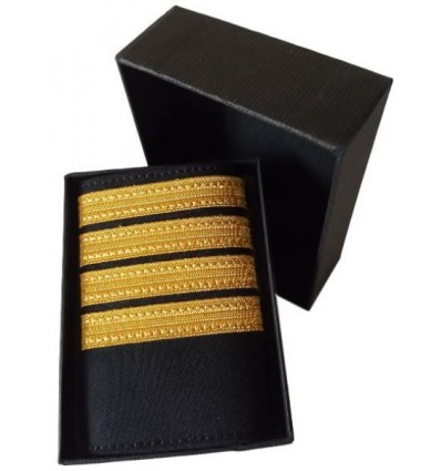 Luxury Epaulets 4 simple stripes - Gold - Classic with velcro fasteners