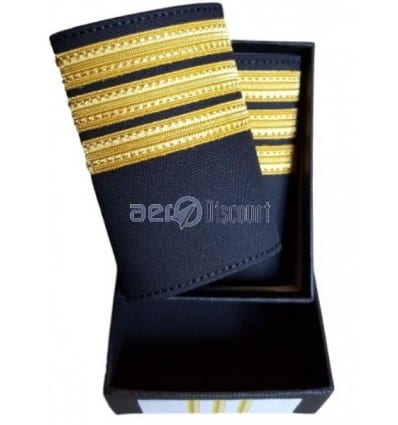 Luxury Epaulets 4 simple stripes - Gold - Classic with velcro fastener