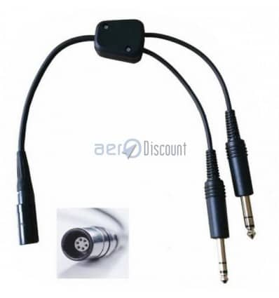 Adapter Bose A20 Lemo® plug to GA General Aviation 2 Male Jacks