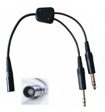 Adapter GA General Aviation 2 Male Jacks to Bose® A20 Lemo® Female plug