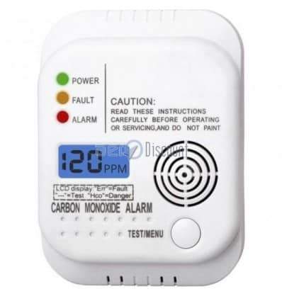 CO Detector with Visual and SOUND Alarm Direct reading of mesure on LCD Screen