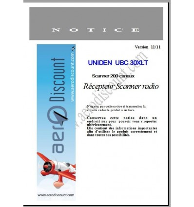 Fench Operating Manual for UNIDEN UBC30XLT Scanner 200 channels
