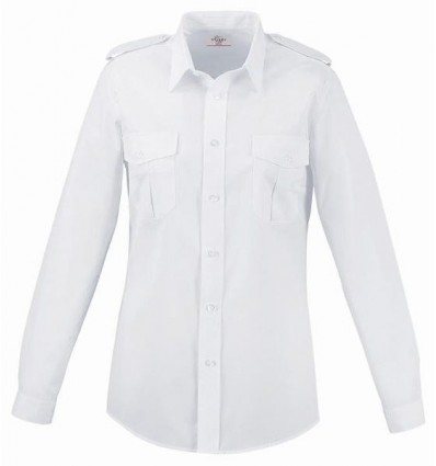 Chemise Pilote Blanche Femme Manches Longues