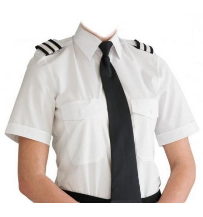 Chemise Pilote Blanche Femme Manches Courtes