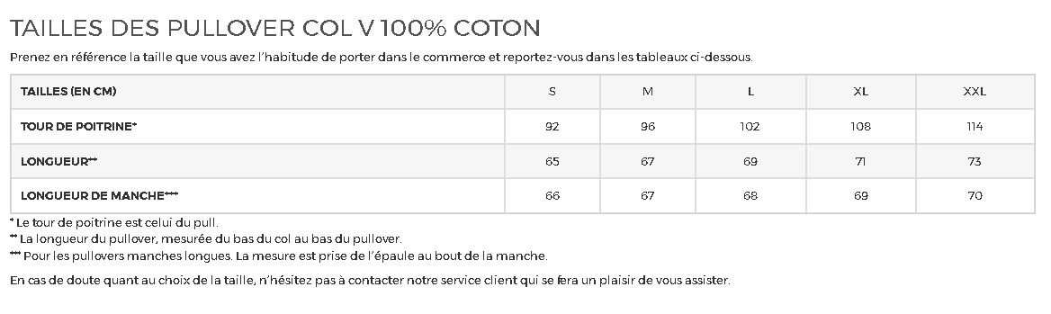 Tailles Pull Over 100 coton col V